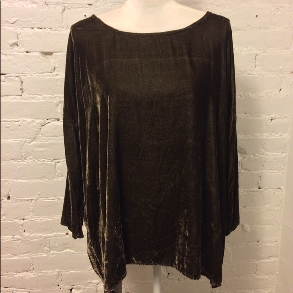 CP Shades Velvet Relaxed Blouse Mink Brown S
